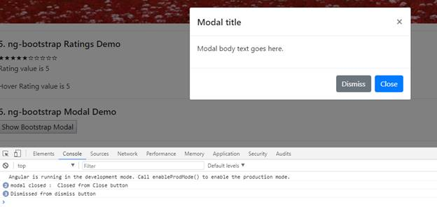 "Using ""ng-bootstrap"" Modal Popup"